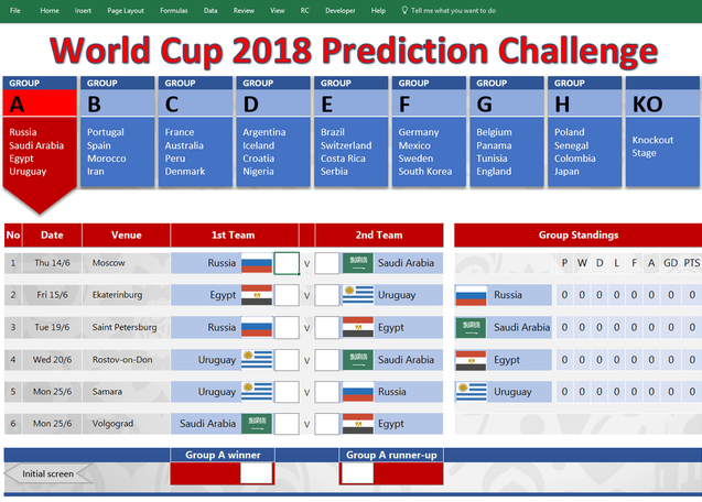 2018 FIFA World Cup Russia Schedule Template  Excel